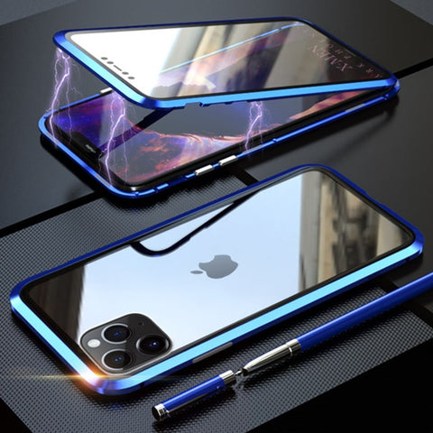 iPhone 11 Pro Max Case Metal Magnetic Tempered Glass Cover Blue-CoolDesignOnline