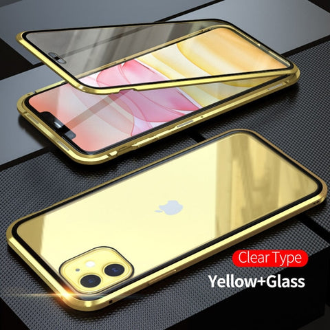 iPhone 11 Pro Case Metal Magnetic Tempered Glass Cover Gold-CoolDesignOnline