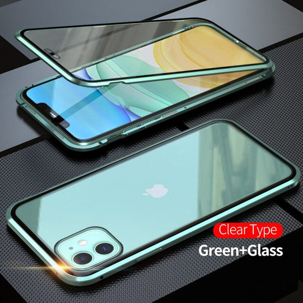 iPhone 11 Pro Max Case Metal Magnetic Tempered Glass Cover Green-CoolDesignOnline
