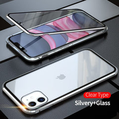 iPhone 11 Pro Max Case Metal Magnetic Tempered Glass Cover Silver-CoolDesignOnline