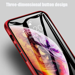 iPhone 11 Pro Max Case Metal Magnetic Tempered Glass Cover Red-CoolDesignOnline