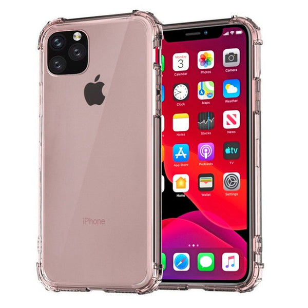 iPhone 11 Pro Max Case Four Corner Strengthen Clear Cover Rose-CoolDesignOnline