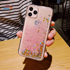 iPhone 11 Liquid Glitter Case Bling Sparkle iPhone Cover Pink Star-CoolDesignOnline
