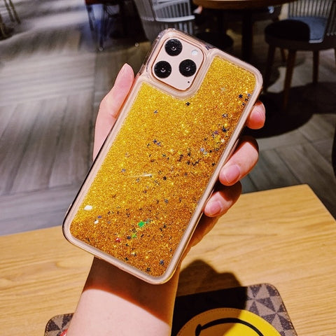 iPhone 11 Liquid Glitter Case Bling Sparkle iPhone Cover Gold Star-CoolDesignOnline