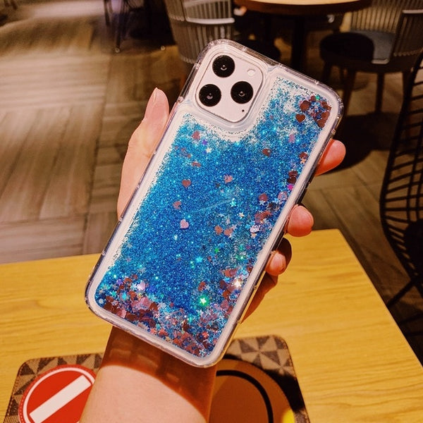 iPhone 11 Pro Max Liquid Glitter Case Bling Sparkle Cover Blue-CoolDesignOnline
