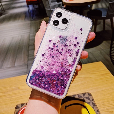 iPhone 11 Liquid Glitter Case Bling Sparkle iPhone Cover Purple-CoolDesignOnline