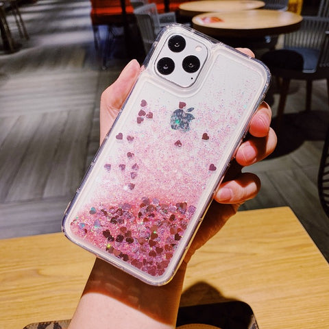 iPhone 11 Liquid Glitter Case Bling Sparkle iPhone Cover Pink-CoolDesignOnline