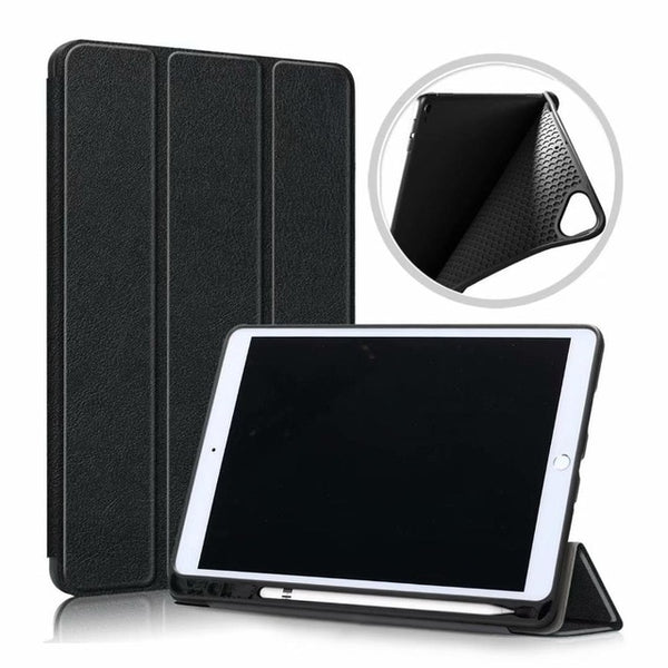 iPad 10.2 Case 2019 With Pencil Holder Soft Smart Cover Black-CoolDesignOnline