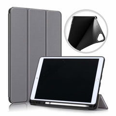 iPad 10.2 Case 2019 With Pencil Holder Soft Smart Cover Gray-CoolDesignOnline