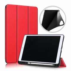 iPad 10.2 Case 2019 With Pencil Holder Soft Smart Cover Red-CoolDesignOnline
