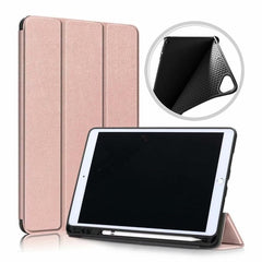 iPad 10.2 Case 2019 With Pencil Holder Soft Smart Cover Rose Gold-CoolDesignOnline
