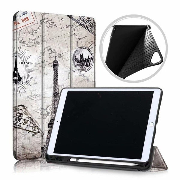 iPad 10.2 Case 2019 With Pencil Holder Soft Smart Cover FGTT-CoolDesignOnline