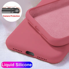 iPhone 11 Pro Max Case Solid Candy Color Liquid Camellia Red Cover-CoolDesignOnline