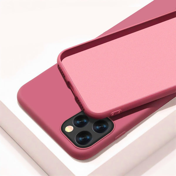 iPhone 11 Pro Case Solid Candy Color iPhone Cover Camellia Red-CoolDesignOnline