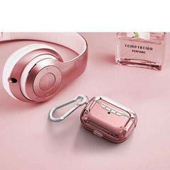 AirPods Pro Case Rose Gold Glitter Flakes Silicone Case With Keychain-CoolDesignOnline