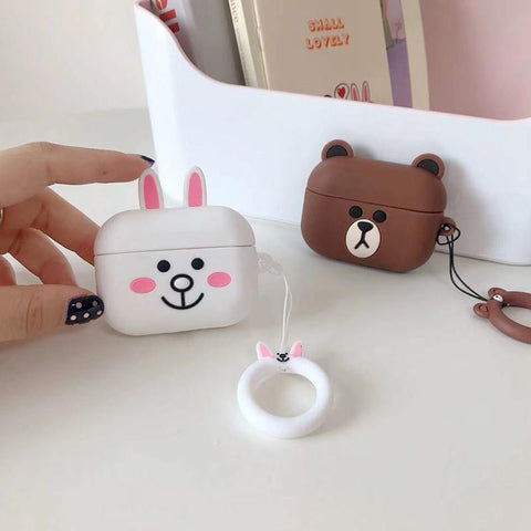 AirPods Pro Case Cute Cony Cartoon AirPods Cover With Keychain-CoolDesignOnline