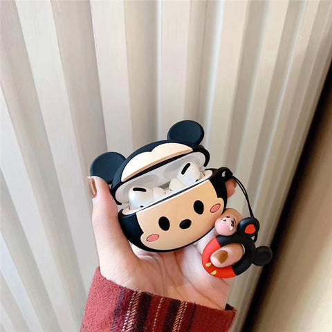 AirPods Pro Case Cute Minnie Cartoon AirPods Cover With Keychain 2-CoolDesignOnline