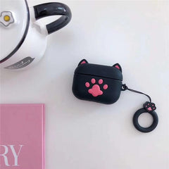 AirPods Pro Case Cute Black Bear Paw AirPods Cover With Keychain-CoolDesignOnline