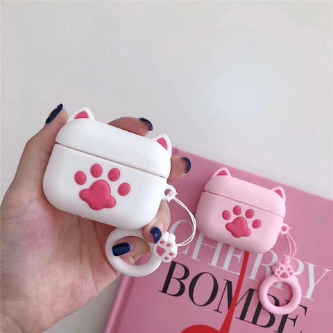 AirPods Pro Case Cute White Bear Paw AirPods Cover With Keychain-CoolDesignOnline