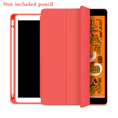 iPad mini 5 Case With Pencil Holder Leather Silicone Smart Cover Red-CoolDesignOnline