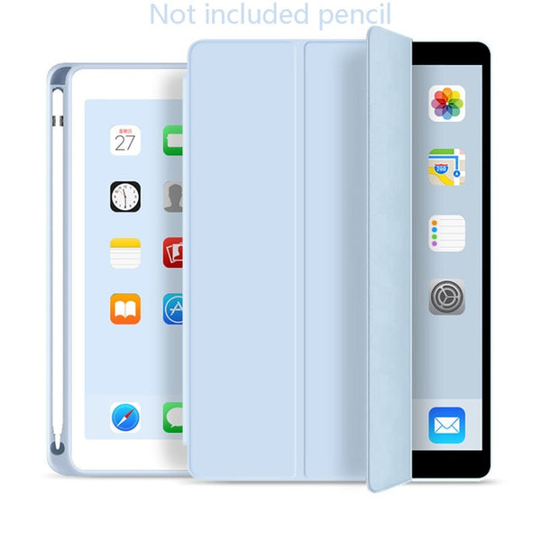 iPad mini 5 Case With Pencil Holder Leather Smart Cover Ice Blue-CoolDesignOnline