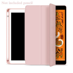 iPad mini 5 Case With Pencil Holder Leather Silicone Smart Cover Pink-CoolDesignOnline