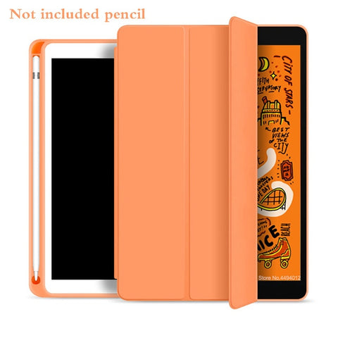 iPad mini 5 Case With Pencil Holder Leather Silicone Smart Cover Orange-CoolDesignOnline