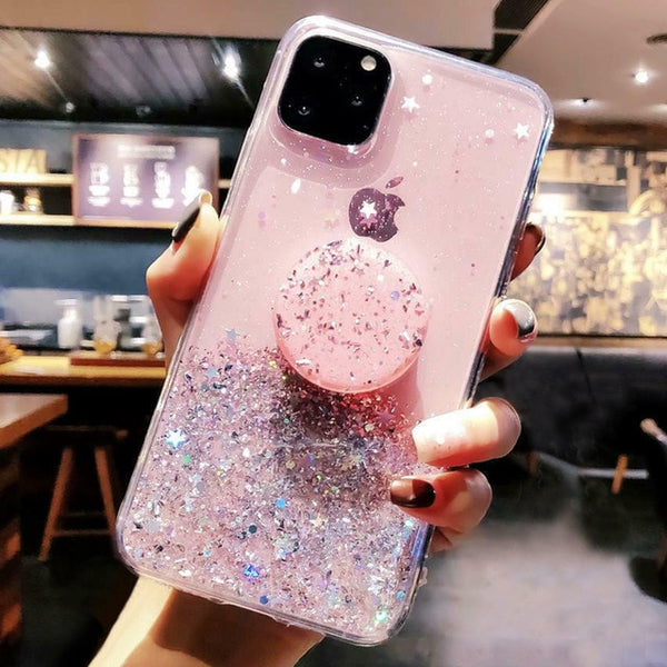 iPhone 11 Pro Case Glitter Bling With Stand Holder iPhone Cover Pink-CoolDesignOnline
