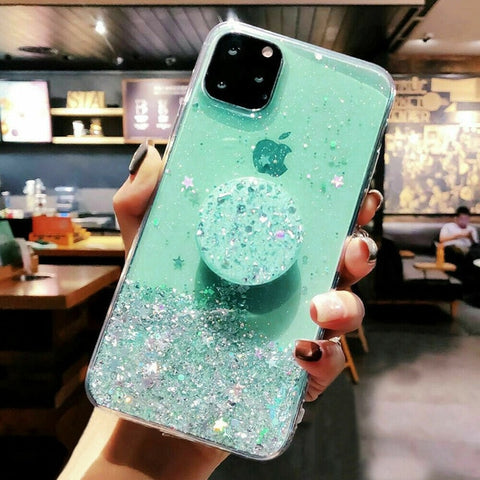 iPhone 11 Case Glitter Bling With Stand Holder iPhone Cover Mint-CoolDesignOnline