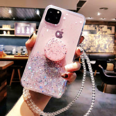 iPhone 11 Pro Max Case Glitter Bling With Stand Holder Cover Pink-CoolDesignOnline