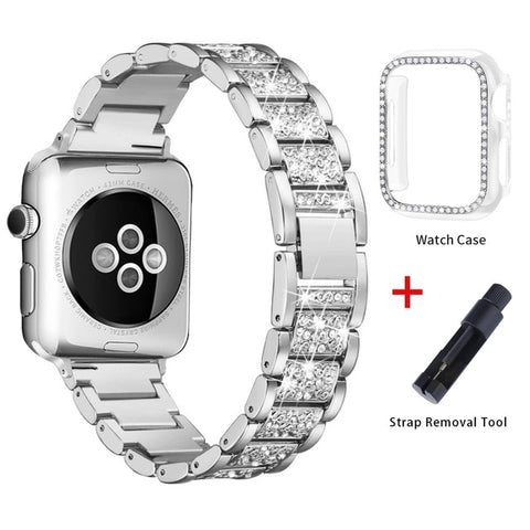 Apple Watch Band Stainless Steel Series 1 38mm Bracelet With Case Silver-CoolDesignOnline