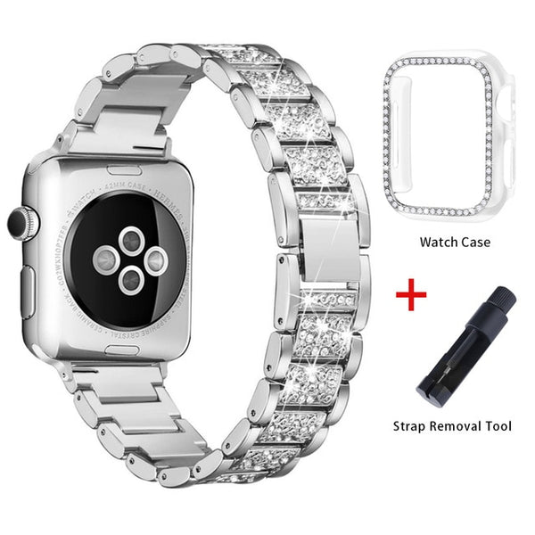 Apple Watch Band Stainless Steel Series 5 44mm Bracelet With Case Silver-CoolDesignOnline