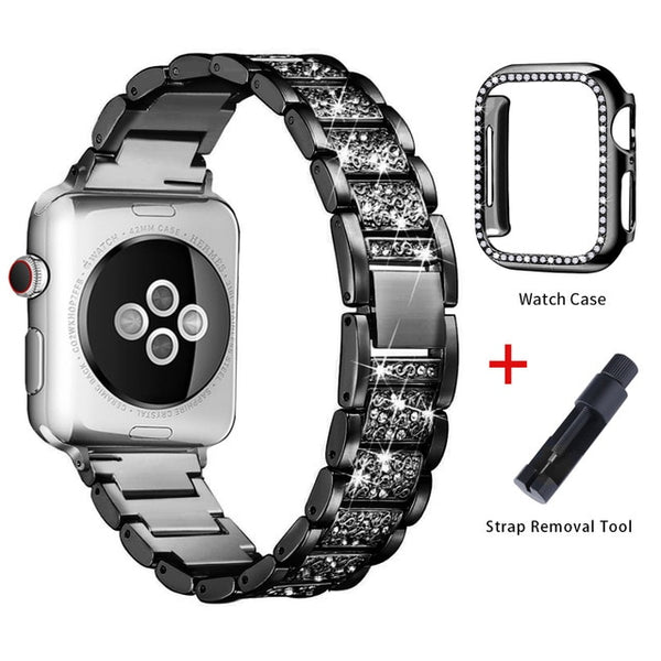 Apple Watch Band Stainless Steel Series 5 40mm Bracelet With Case Black-CoolDesignOnline