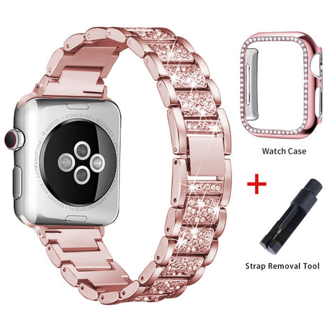 Apple Watch Band Stainless Steel Series 5 40mm Bracelet With Case Pink Gold-CoolDesignOnline