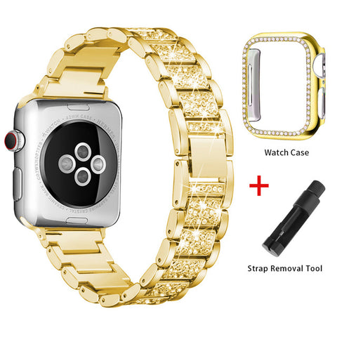 Apple Watch Band Stainless Steel Series 1 38mm Bracelet With Case Gold-CoolDesignOnline