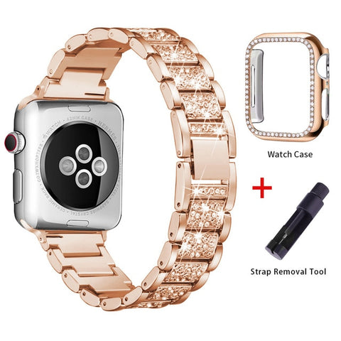 Apple Watch Band Stainless Steel Series 1 38mm Bracelet With Case Rose Gold-CoolDesignOnline