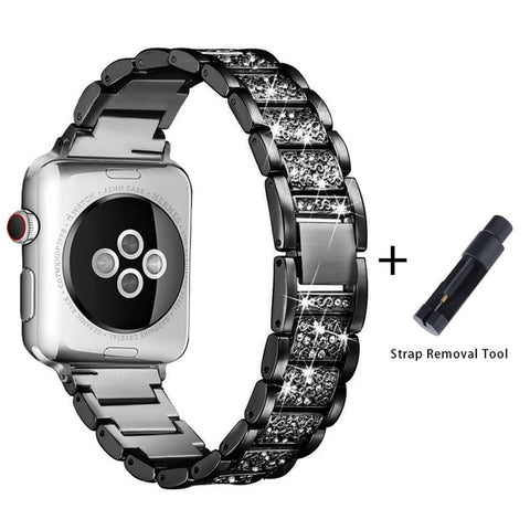 Apple Watch Band Stainless Steel Series 5 40mm Luxury Bracelet Black-CoolDesignOnline