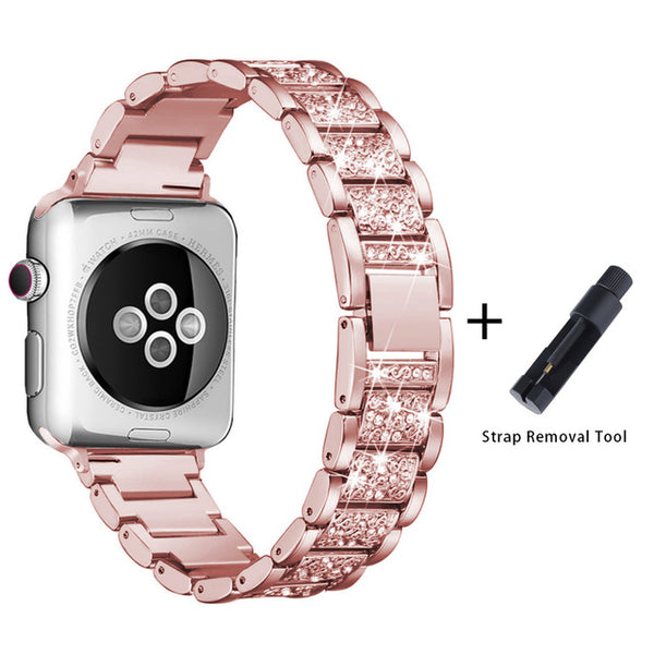 Apple Watch Band Stainless Steel Series 5 40mm Luxury Bracelet Pink Gold-CoolDesignOnline