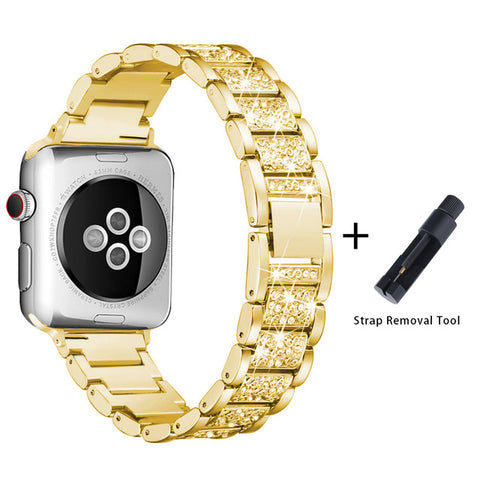 Apple Watch Band Stainless Steel Series 5 44mm Luxury Bracelet Gold-CoolDesignOnline