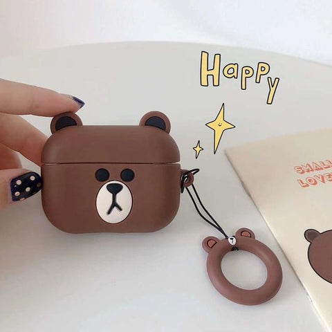 AirPods Pro Case Cute Brown Bear Cartoon AirPods Cover With Keychain-CoolDesignOnline