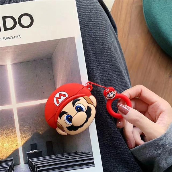 AirPods Pro Case Cute Mario Cartoon AirPods Cover With Keychain-CoolDesignOnline