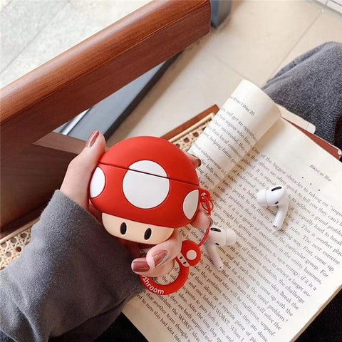 AirPods Pro Case Cute Mushroom Cartoon AirPods Cover With Keychain-CoolDesignOnline