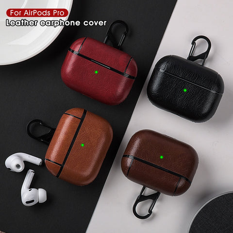 AirPods Pro Case Leather With Keychain AirPods Cover Black-CoolDesignOnline