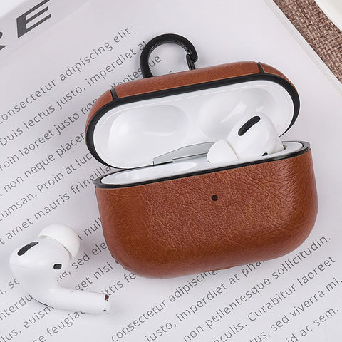 AirPods Pro Case Leather With Keychain AirPods Cover Light Brown-CoolDesignOnline