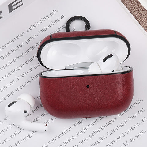 AirPods Pro Case Leather With Keychain AirPods Cover Red-CoolDesignOnline