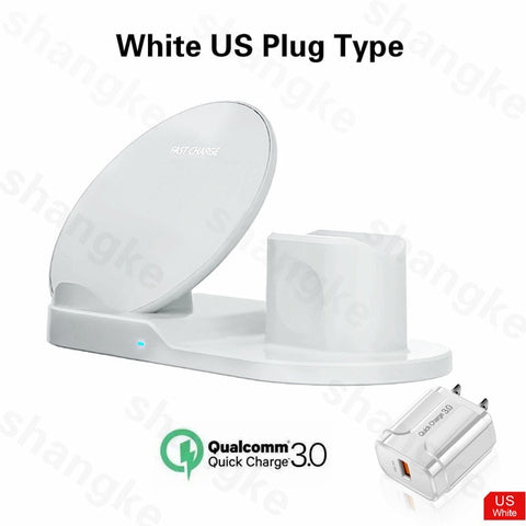 Charge Station Apple 3 in 1 White Wireless Charger Stand For Apple Devices-CoolDesignOnline