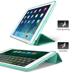 iPad mini 4 Case Leather Trifold Stand Soft Silicone Smart Cover Mint-CoolDesignOnline