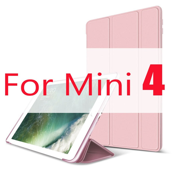 iPad mini 4 Case Leather Trifold Stand Silicone Smart Cover Rose gold-CoolDesignOnline