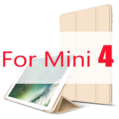 iPad mini 4 Case Leather Trifold Stand Soft Silicone Smart Cover Gold-CoolDesignOnline