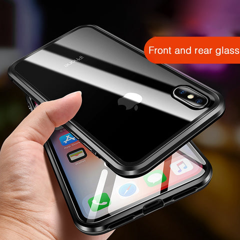 iPhone XS Case Metal Magnetic Adsorption iPhone Cover Sliver-CoolDesignOnline